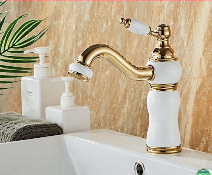 2020 Европейский стиль нефрита платформы бассейна туалет кран ванной горячей и холодной кран все медь золото бассейна кран раковины ванной комнаты Смесители F5
