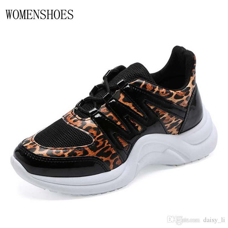 Cuyo máscara Salida hacia  Leopard Print Shoes Women Casual Shoe PU Female Walking Shoes ...