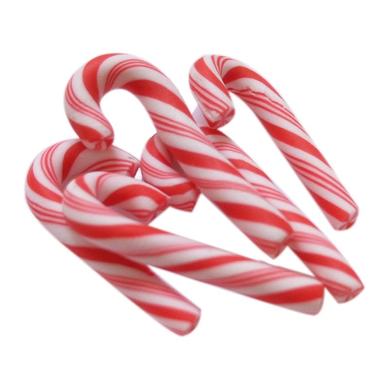 Miniature 50pcs Vermelho E Natal Candy Cane Kawaii Branco Handmade Food Dollhouse Home Decor