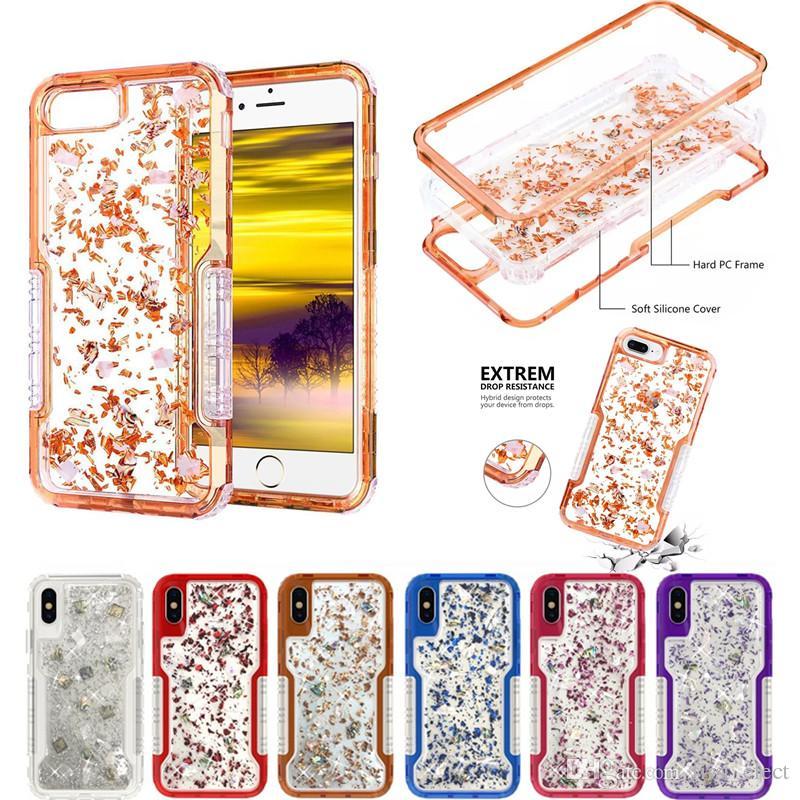 De luxe Bling Glitter TPU dur PC Defender Robot Cas de téléphone antichoc pour iPhone XS MAX XR 8 PLUS 7 6S Samsung S9 plus S9 Note 9 Note 8