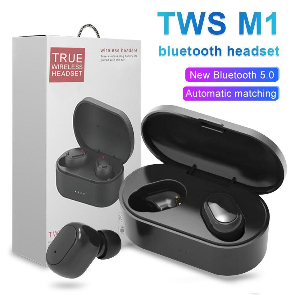 M1 TWS Bluetooth Auriculares Wireless Auriculares 5.0 Stero Intelligent Noise cancela los auriculares portátiles para móvil inteligente con Box