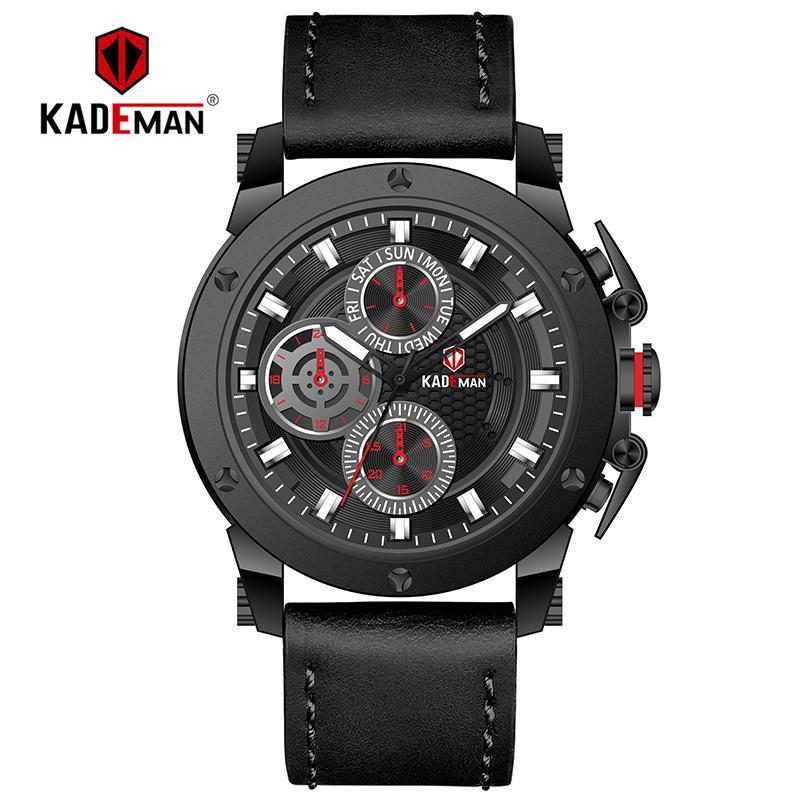 KADEMAN Sport Watch Men TOP Brand Waterproof Quartz Wristwatch Fashion Leather Male Date Clock Relogio Masculino