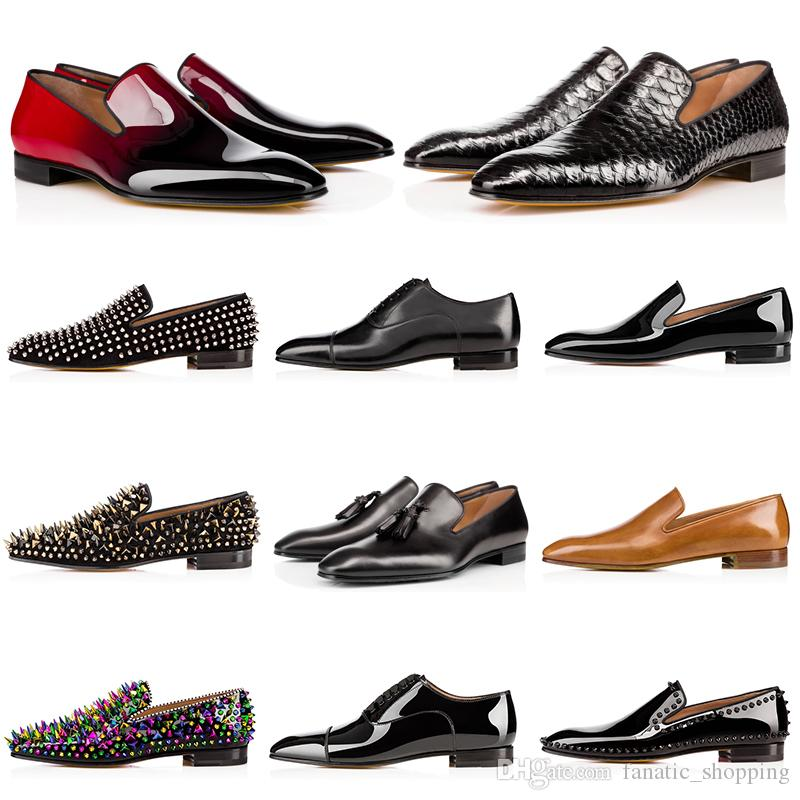 2020 red bottoms mens shoes spikes men dress shoes loafers Matt Patent Leather Suede Round Toes men Casual Sneakers slip on 39-47