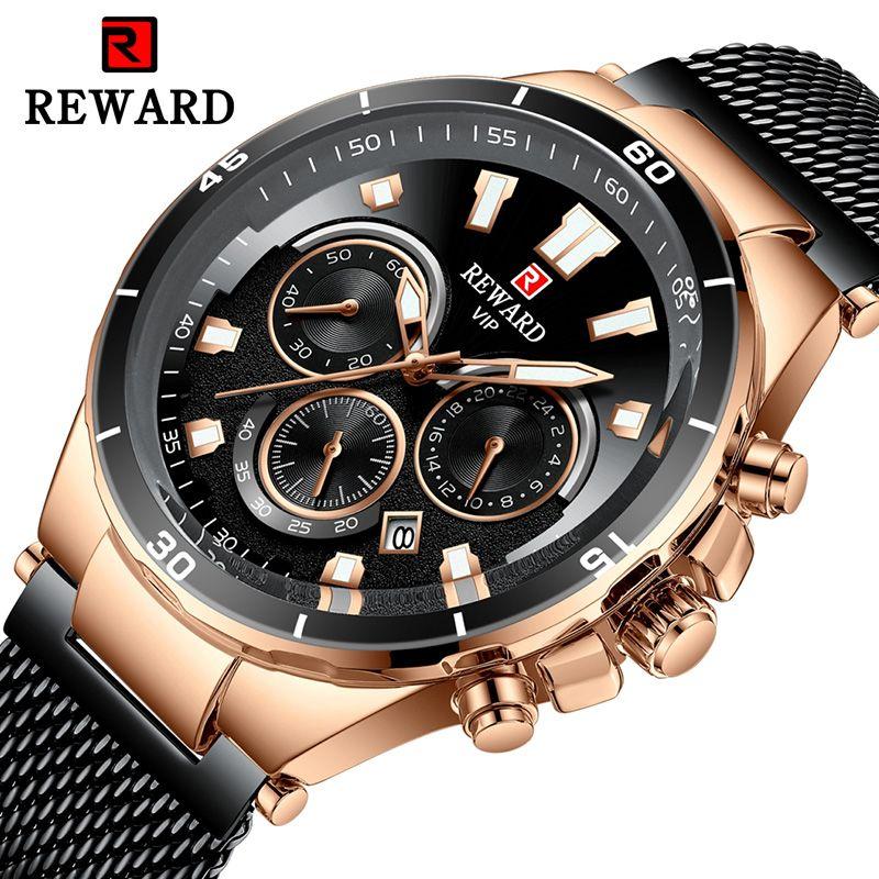 Top Marque REWARD Business Hommes Montres Quartz Sport Montre Militaire Hommes Étanche En Acier Inoxydable Calendrier Horloge Relogio