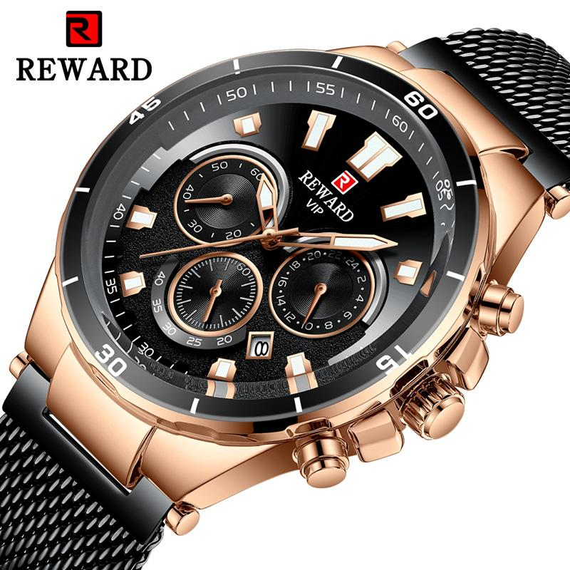 Top Marca REWARD Homens de Negócios Relógios de Quartzo Relógio Militar Do Esporte Dos Homens de Aço Inoxidável À Prova D 'Água Calendário Relógio Relogio