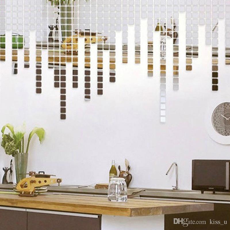 2x2CM Acrylic Mirrored Decorative Sticker Wall Art DIY Decoration Mirror Wall Stickers For Kids Rooms Home Decor