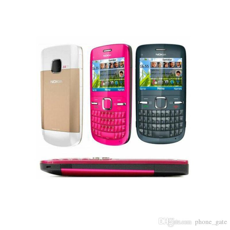 تم تجديده الأصل نوكيا C3-00 مفتوح الهاتف 2.4 بوصة شاشة 2MP كاميرا الهاتف بلوتوث FM JAVA 2G GSM رخيصة المحمول 1PCS