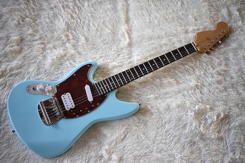 Fabrika Özel Sol El ile Gökyüzü Mavi Elektrik Gitar Nokta Frets Kakma, Kırmızı Kaplumbağa Pickguard, S H Transfer, Özelleştirilebilir