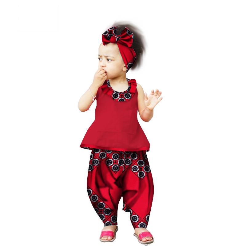 Yeni Gelen Çocuklar için Afrika Pantolon Setleri Dashiki Sevimli Afrika Giyim Bazin Riche Tatlı Kızın Giysileri için afrika ç ...