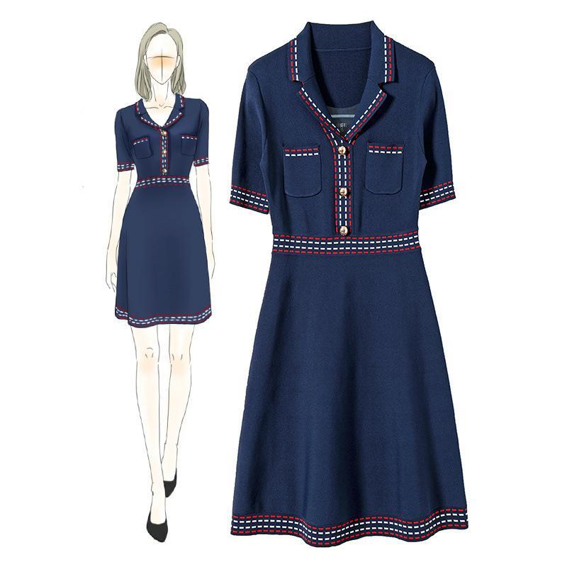 مصمم نمط الفرنسية العلامة التجارية ذات جودة عالية محبوك اللباس صيف 2020 مكتب اللباس العمل السيدات جيب السترة الأزرق الداكن الأبيض