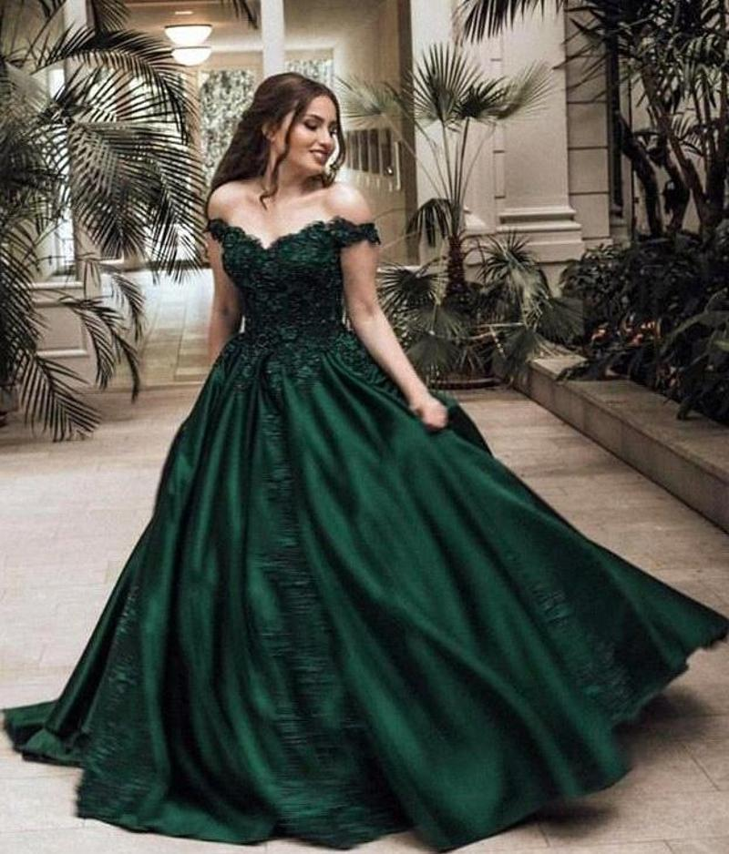 Os mais recentes verde escuro de cetim Vintage Prom Vestidos Sexy Off the Shoulder Lace Applique frisada ocasião Formal Wear vestidos de noite