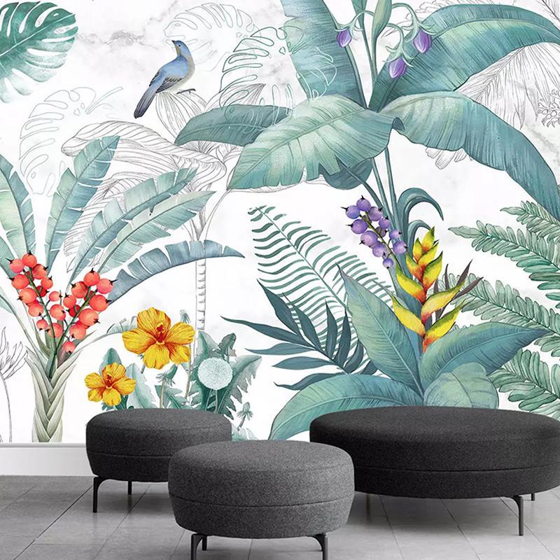 Fondo de pantalla personalizados Imagen de pared tapando los pájaros 3d y el fondo de las flores de la decoración Photo Murales Papel de parede