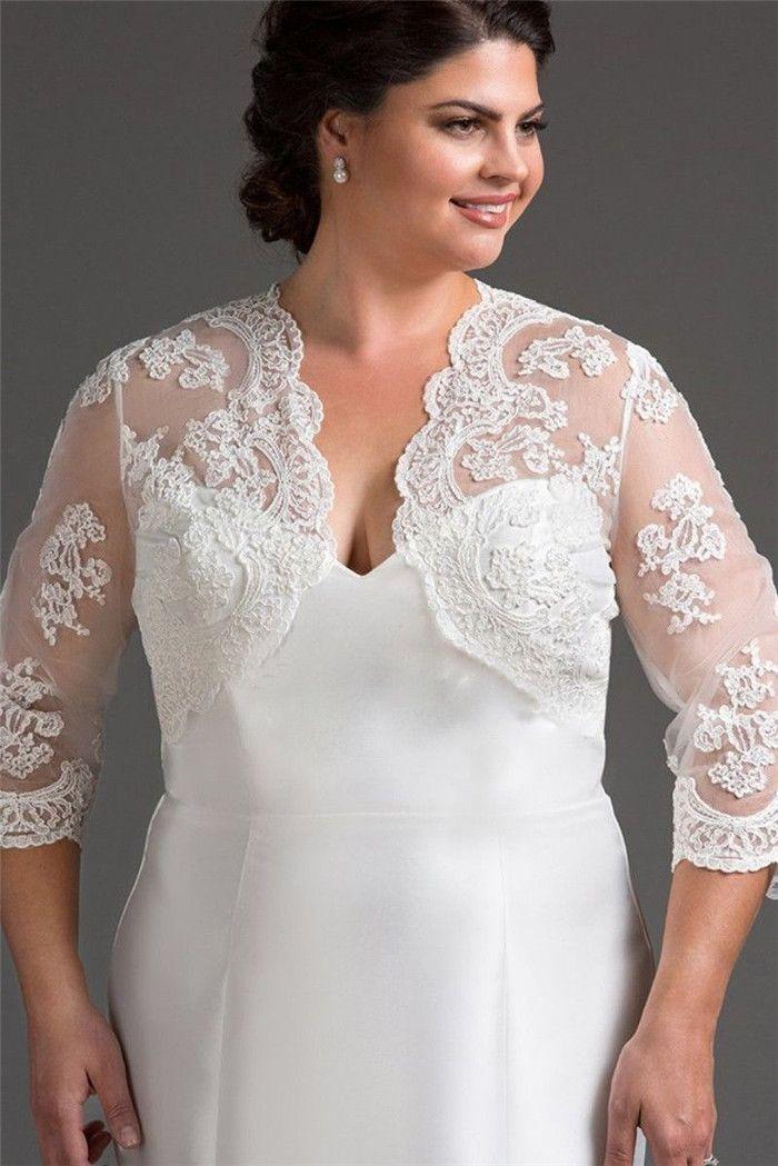 3/4 Long Sleeve Wedding Bolero Jacket Lace Shawl Bridal Jacket Wedding Wrap Lady Shrug White Ivory Plus Size Bolero Jacket
