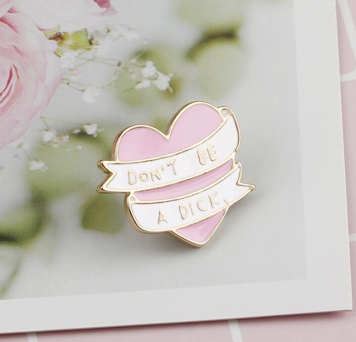 Don/'t be a Dick Denim Jackets Badge  Brooches Enamel Pin Pink Heart Ribbon