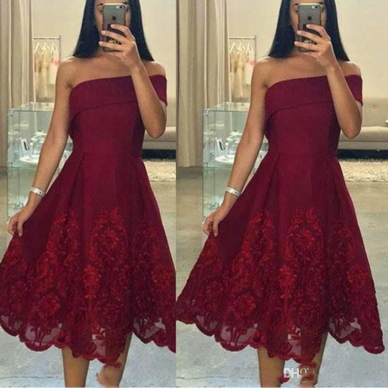 Burgundy Tea Length Homecoming Dresses for Juniors Applique Plus Size Short Prom Dress Party Graduation Club Wear Cheap