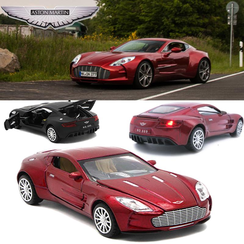 Aston Martin One-77 Metal Toy Cars , 1/32 Diecast Scale Model, Kids Present With Pull Back Function/Music/Light/Openable Door SH190910
