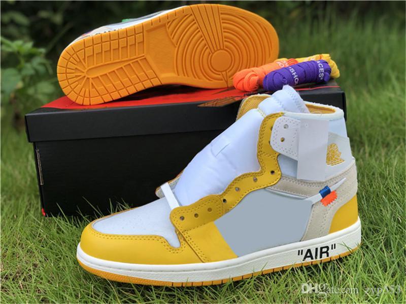 2020 Release Off Authentic White Air 1 OG Canary Yellow Вергилий Ablohs ретро Чикаго UNC Powder Blue 1S Баскетбол обувь Мужчины Женщины Black Тэг