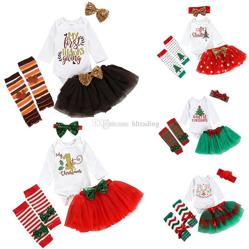 5 stili Ringraziamento Natale ragazze Outfits bambini stampa della lettera del pagliaccetto Top + Mesh tutu + Bow Paillettes fascia + legging i calzini 5pcs / set M487