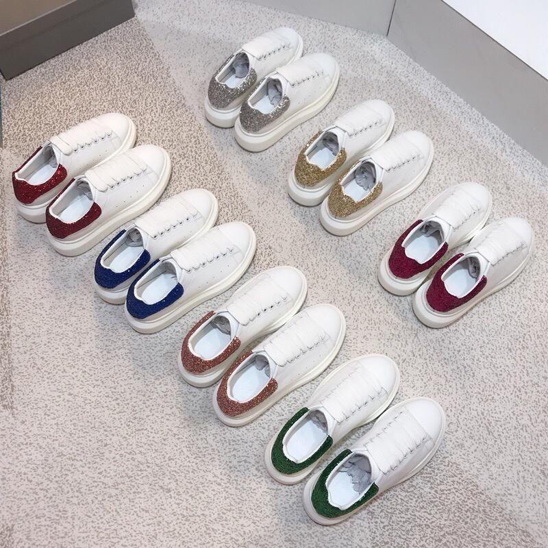 Nueva moda de alta calidad diseñador hombre zapatos mujer zapatos casuales blancos de cuero real de lujo de diseño de lujo zapatillas de deporte zapatos de los hombres con la caja 35-44