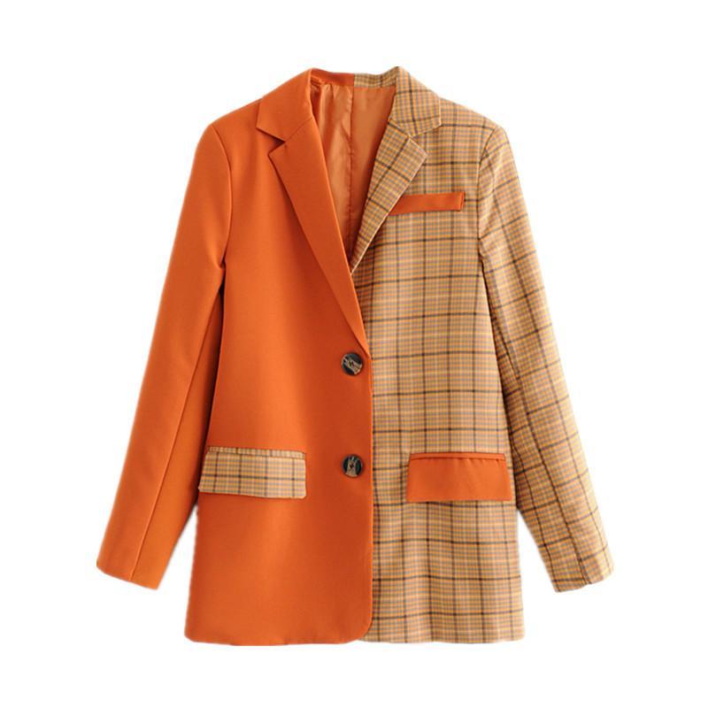 Deat 2019 Donne Blazer Plaid Giacca Donna Patchwork Solido Arancione Arancione Manica Lunga Ladies Office Office Capispalla Vestito Cappotto MF971