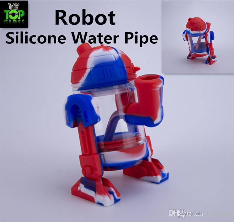 Moderne verre robot 14mm de l'eau en verre design mini-bangs détachable silicone de protection en verre de cas fumant la pipe doux emballage Siliclab
