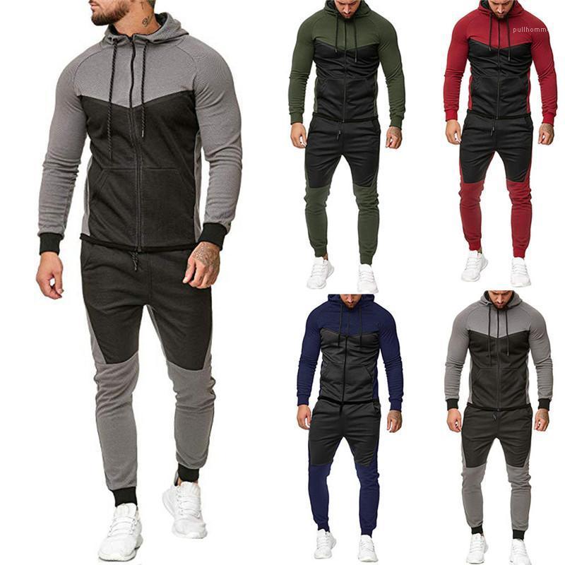 Long Sleeve Sports Suits Designer Mens Panelled Tracksuits Fashion Plus Size Hoodies 2PCS Sets Mens Casual