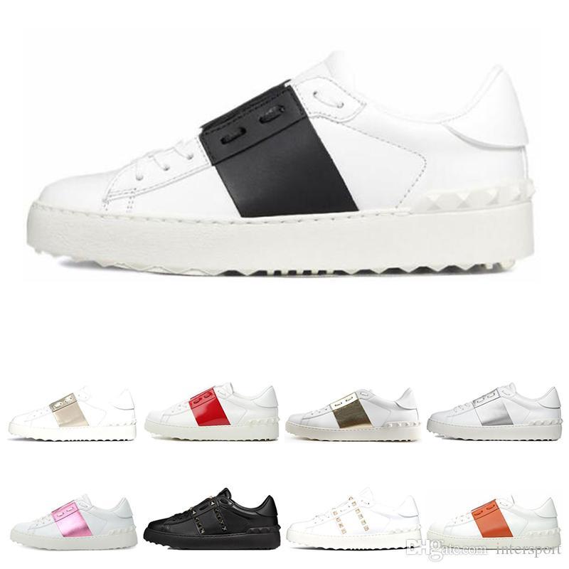 Valentino 새로운 도착 캐주얼 신발 화이트 블랙 레드 패션 남성 여성 가죽 디자이너 신발을 엽니 다 낮은 스포츠 운동화 크기 35-46