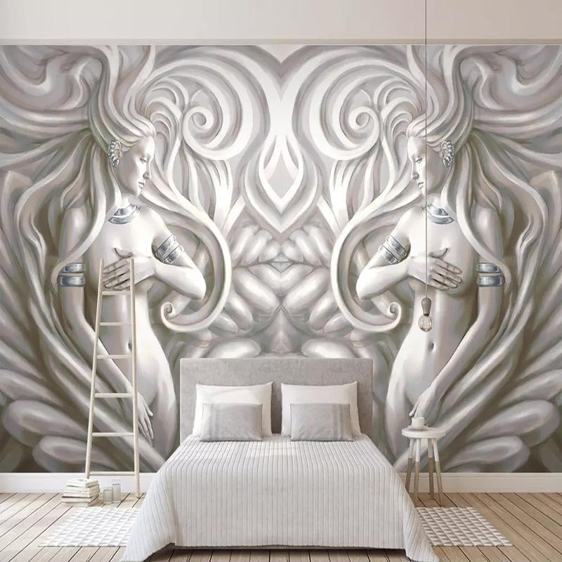 Dropship Individuelle Tapete Tapete Papel De Parede 3D europäischen Stil Geprägte Schönheit Skulptur Moderne Wohnzimmer Fernsehhintergrundwandmalerei