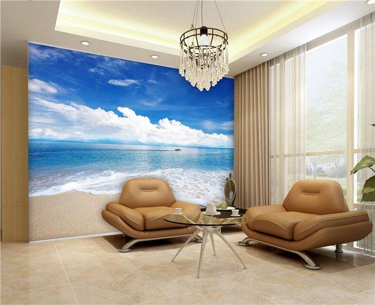 Custom photo wallpaper 3D blue sky white clouds beach shell sea landscape wall mural living room sofa bedroom wallpaper home decoration