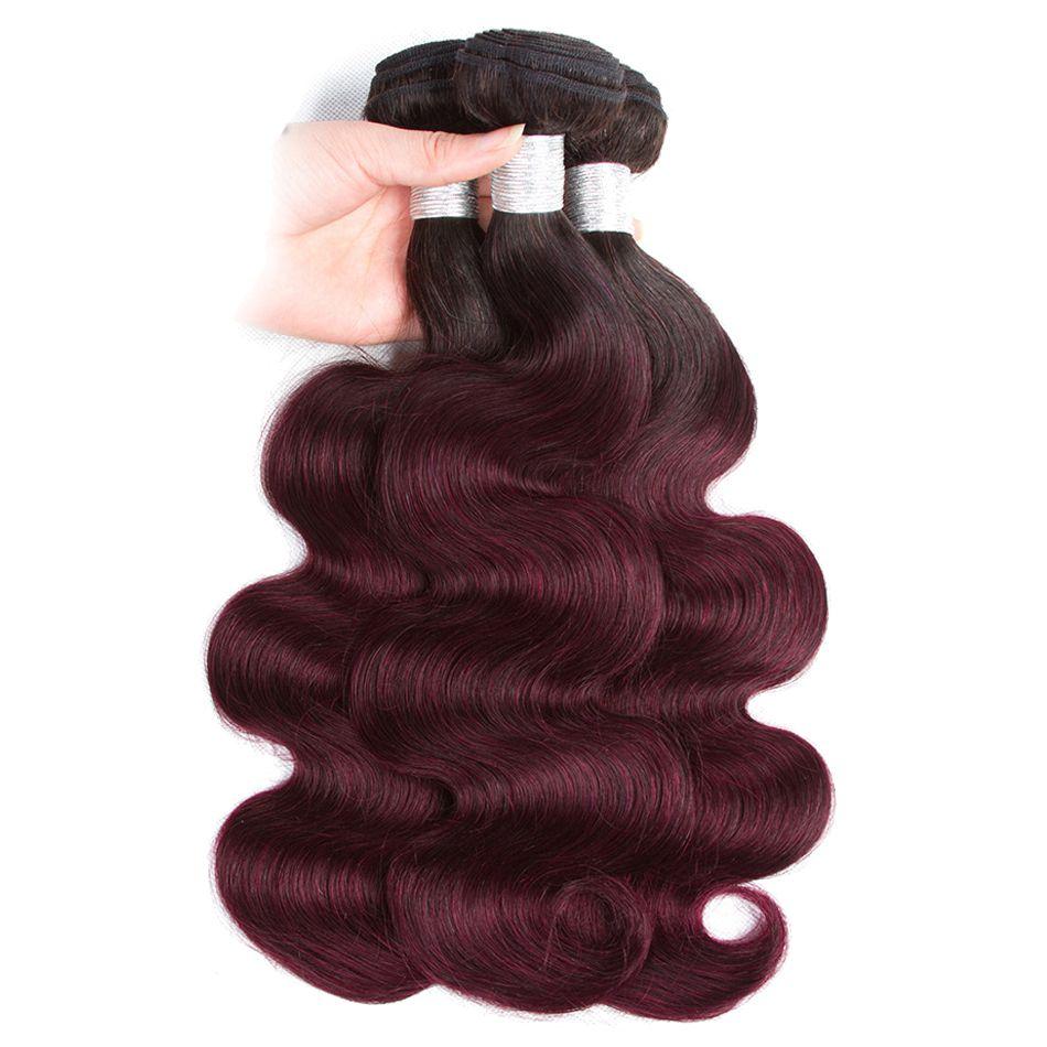 8a Ombre Paquetes de cabello liso 1B 99J / Borgoña Dos tonos Los paquetes de armadura de cabello humano brasileño pueden comprar 3/4 Bundles Body Wave Ombre cabello