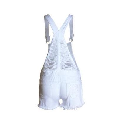 Womens Loose Hole Ripped Jumpsuits Casual White Summer Denim Shorts Xs/L Female Jeans Fashion Short Bib Sling Playsuits