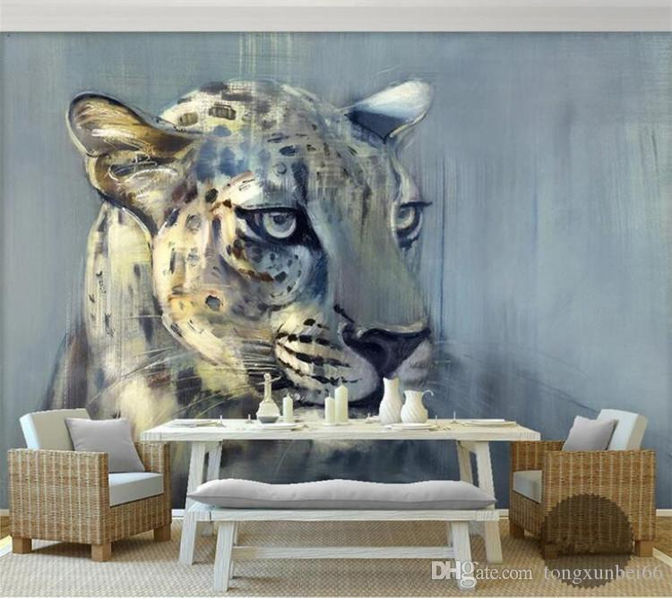 8D Papel Leopard 동물의 벽화 3D 동물 벽지 거실 벽 배경에 대한 벽화 3D 벽 사진 벽화 3D 벽 스티커