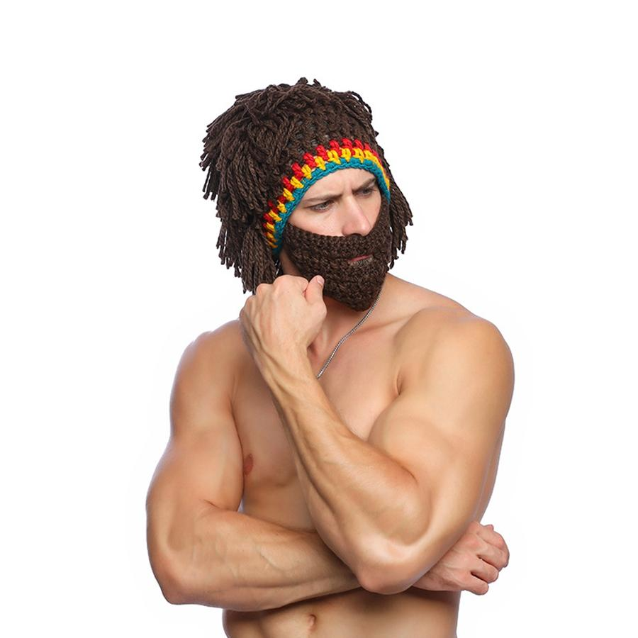 Funny Wig Beard Knitted Hats Kids Adult Halloween Cosplay Costumes Beanie Cap Winter Spoof Whiskers Cap Prank Mask LJJT1475