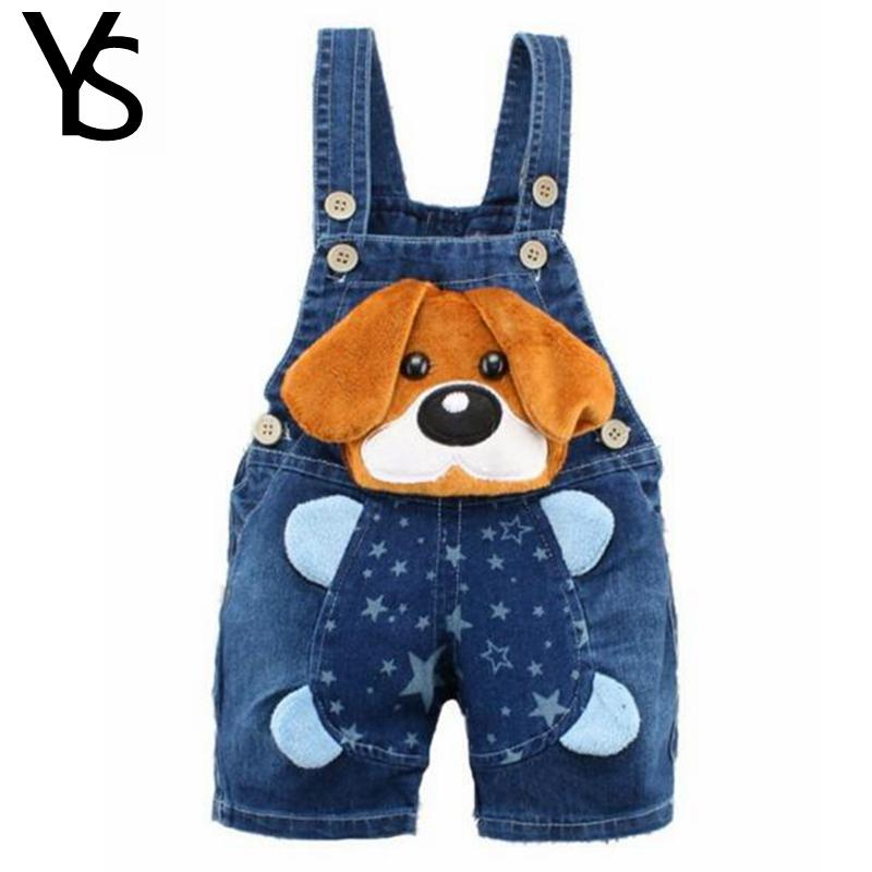 6m-4T Baby Boys Overalls Jeans Shorts Infant Toddlers Kids Denim Rompers Cute Dog Jump Suit For Summer Children Clothes