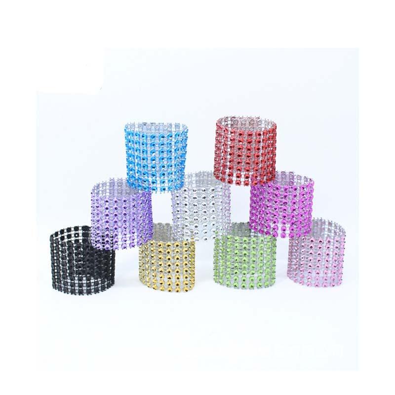 Plastic diamond napkin ring luxury napkin buckle hotel wedding supplies table decoration 9 Clolors 50Pcs/Lot