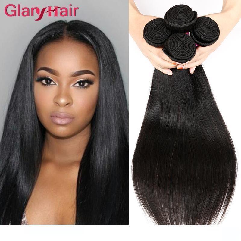 H Glary nuova signora '; S Remy estensioni dei capelli umani Diritto tessuto peruviano malese brasiliano indiano Virgin diritto capelli Bu