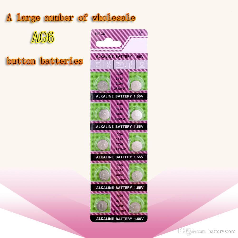 البطارية 500PCS الجملة المصنع مباشرة AG6 371 SR920SW LR920 SR927 171 370 L921 LR69 SR920 1.55V زر البطارية ووتش ساعة كوين القلوية