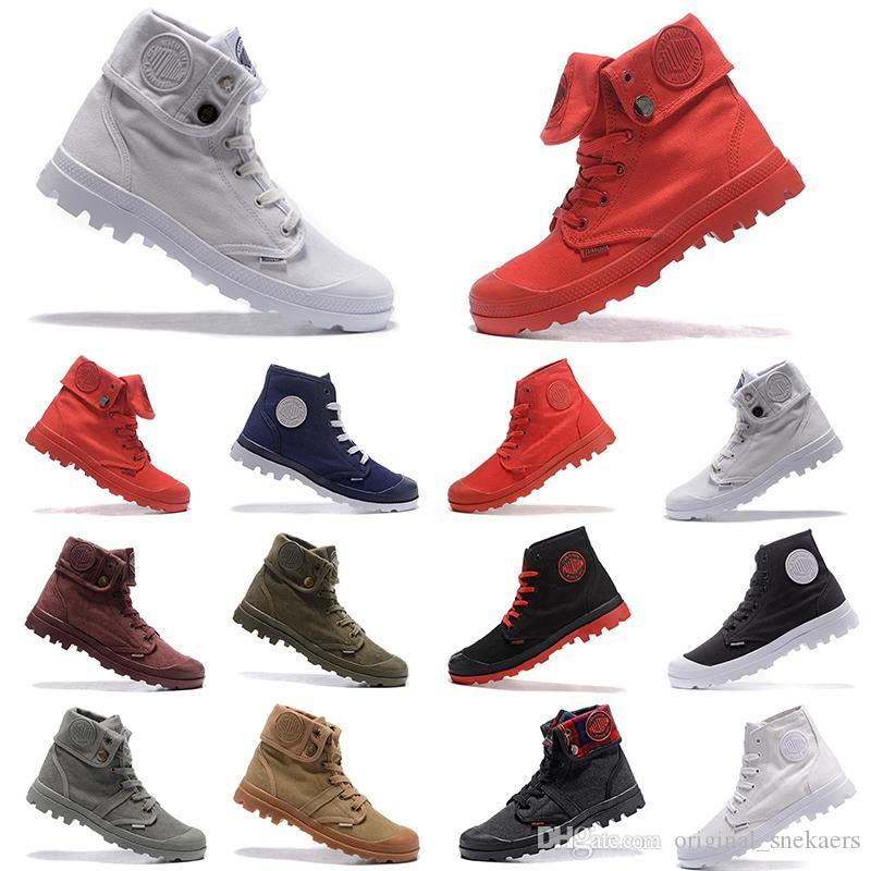 البلاديوم بالابروس الرجال عالية أعلى الجيش العسكرية الكاحل رجل إمرأة حذاء قماش حذاء عرضي حذاء الرجل مكافحة زلة أحذية 36-45