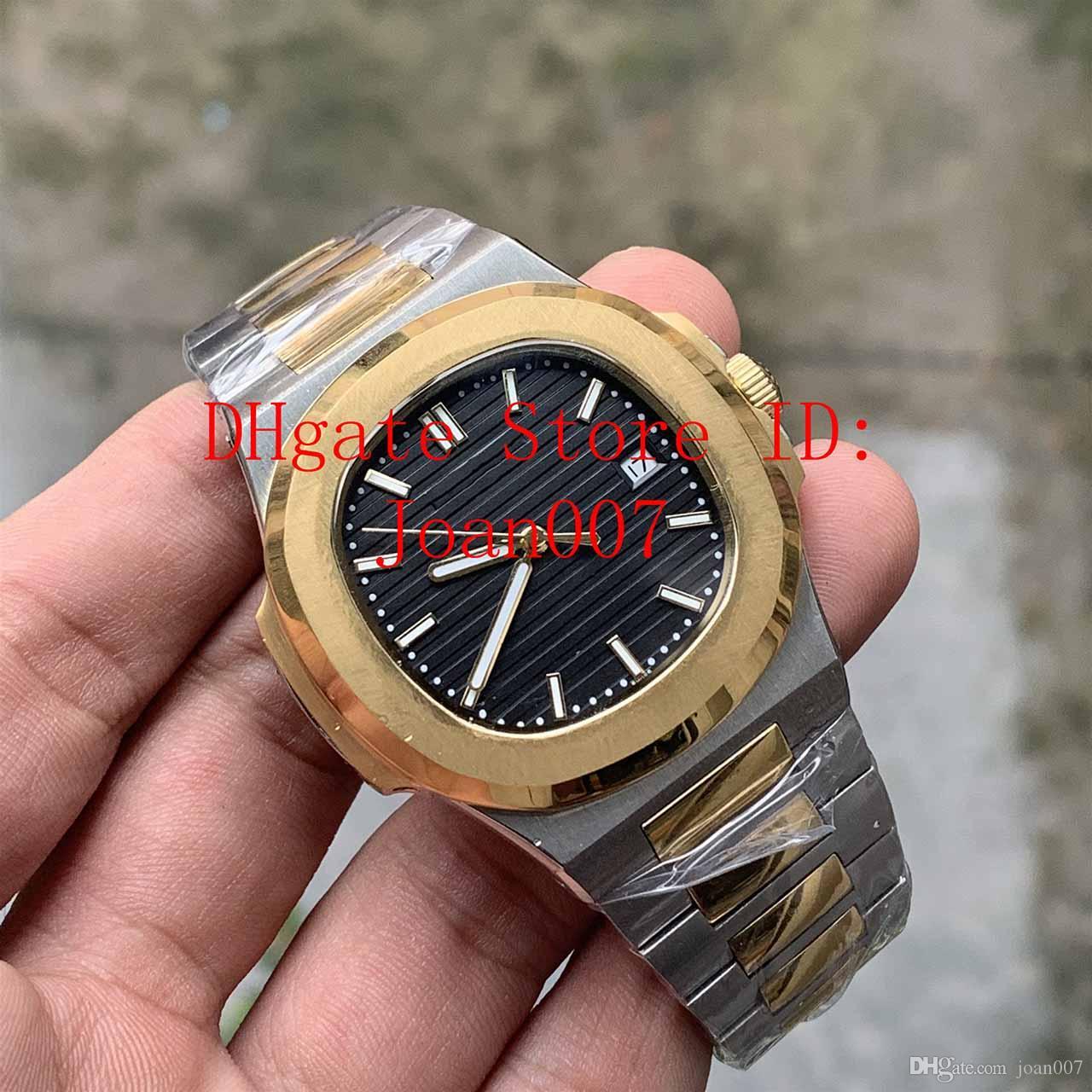 Factory en gros de bonne qualité Blue Dial 2 Tons Gold 2813 Mouvement Montre-bracelet 40mm Mechanical Transparent TRANSPARENT HOMME WATCH montre