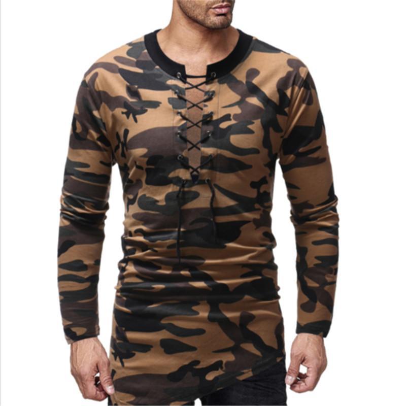 2018 hombres de lujo con estilo ocasionales de manga larga del ajustado con estampado floral de ropa camisas de músculo de manga larga camiseta de la moda remata la camiseta