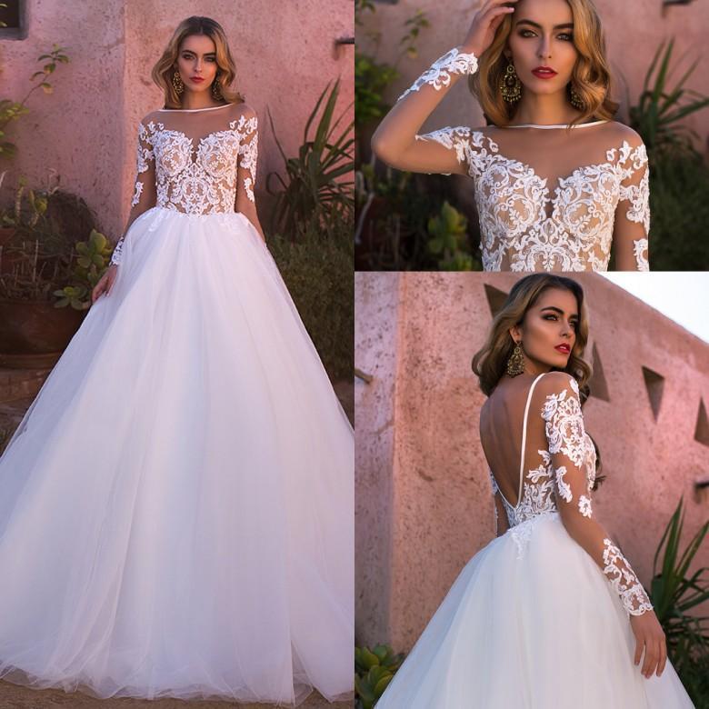 2017 Новый Саид Mhamad Арабский Дубай Длинные рукава Свадебные платья кружева аппликациями Свадебные платья Sexy Backless Vestidos бальное платье