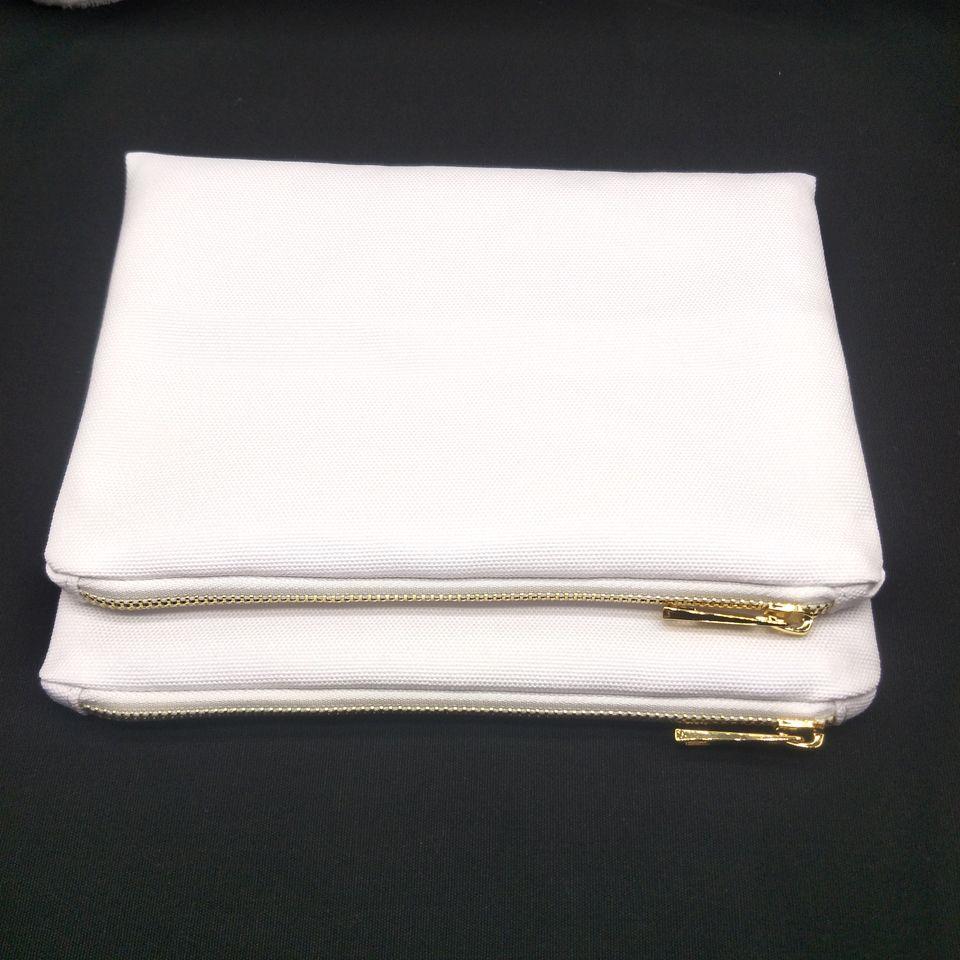 50pcs / lot 12 once spessore bianco poli sacchetto di trucco di tela per sublimazione stampa bianco bianco poli sacchetto cosmetico di tela per stampa a trasferimento termico