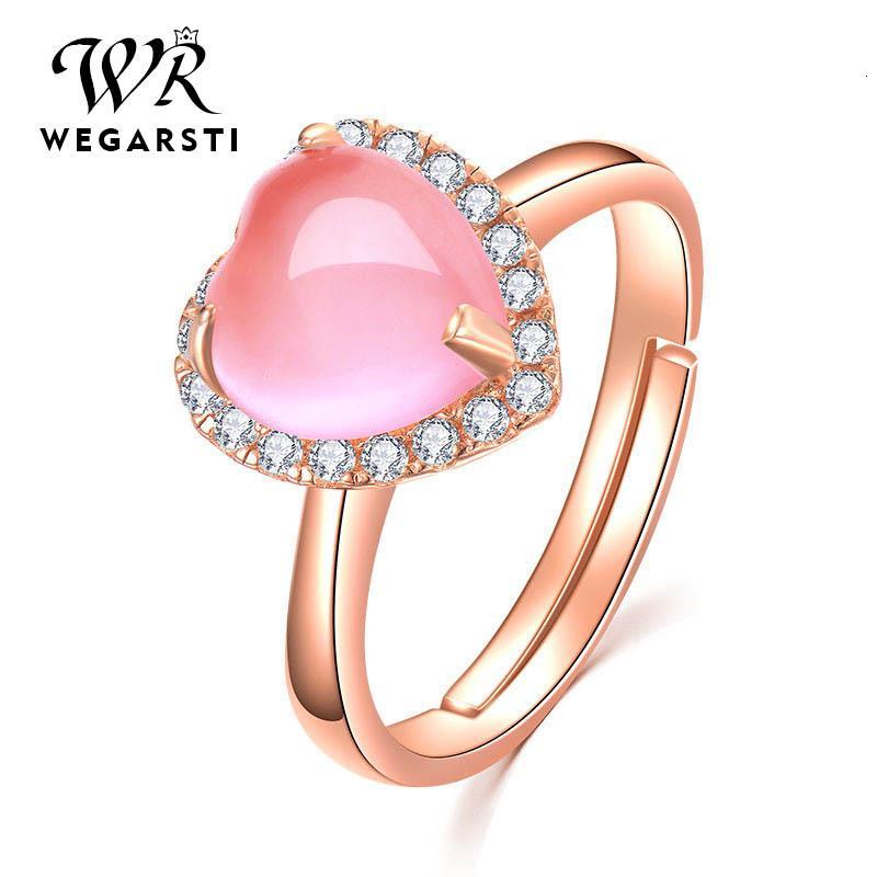 WEGARSTI coração Gemstone Criado Pink Rose Quartz ajustável anel 925 jóias de prata esterlina por Mulheres casamento