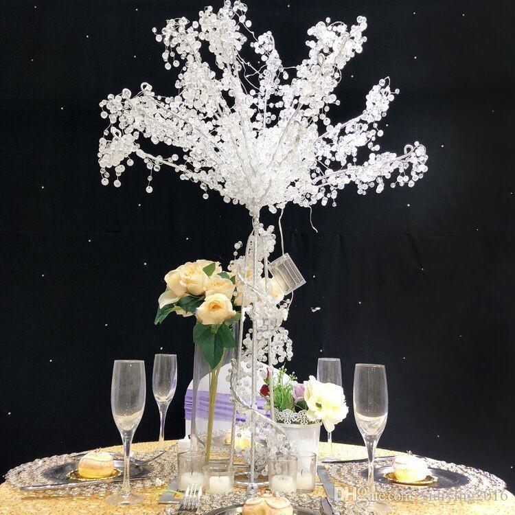 Yeni Moda 90 cm 35 inç Kristal Düğün Masa Akrilik Ağaç Centerpiece Düğün Süslemeleri Parti Süslemeleri Olay Dekor