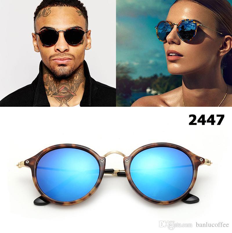 New 2018 Fashion Classic 2447 Round Style Sonnenbrillen Männer Frauen Brand Design Sonnenbrille + Box