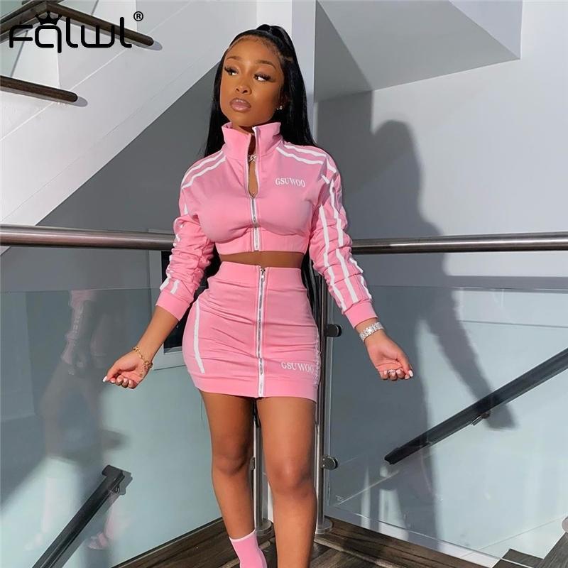 FQLWL Streetwear İki Adet Set Kadınlar Suit Yaz Kulübü Neon Pembe Kıyafetler 2 Adet Etek Seti Eşofman Kadın Bayanlar Eşleştirme T200528 ayarlar