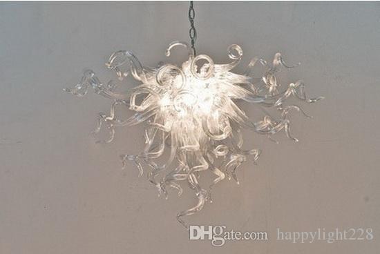Pure luci di soffitto di vetro trasparente soffiato Hanging Murano Glass Chandelier Lamp for Contemporary semplice della casa Decor