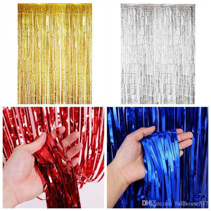 1m Tinsel Foil Fringe Vorhänge Tür-Fenster-Vorhang Photo Booth Hintergrund Kulissen für Partei-Abschluss Geburtstag Hochzeit Dekoration
