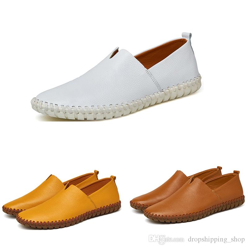2020 Hot Big Taille chaussures de course pour les hommes des hommes de sport de mode blanc bleu PU jaune noir foncé chaussures de sport 38