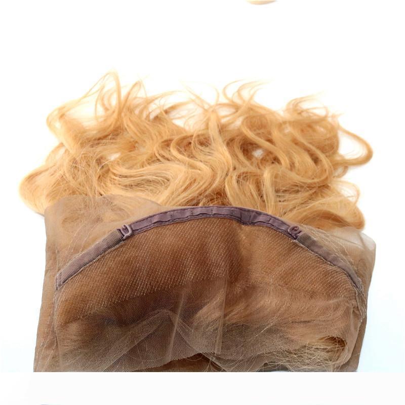 Önceden koparıp dantel kapatma frontal insan saçı uzatma 360 dantel ön 360 kulak kulak kapatılması Stocked için # 27